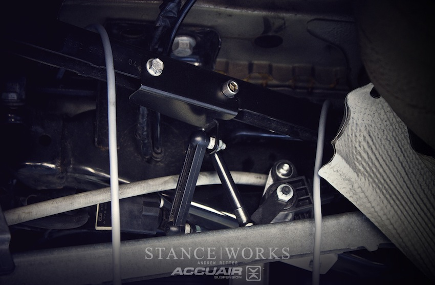 the accuair experience part 1 install stanceworks armed a vice and a drill stan reno and derek fabricated aluminum brackets to mount the rear height sensors directly to the mini s sub frame