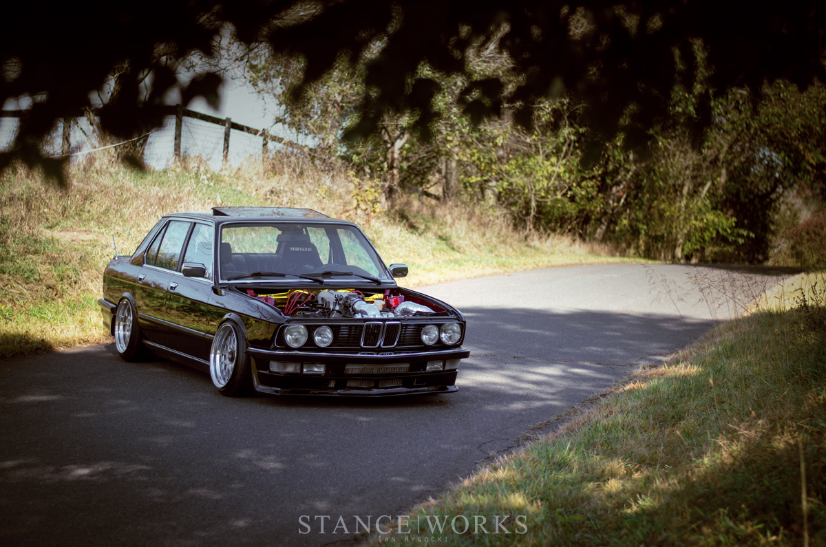 Full Tilt Dirk Deppens Procharged V8 Swapped 1986 Bmw E28 535i The Truck That It39s Being Installed Into Has Been Megasquirted By Mr Its Further Complimented Chrome Euro Bumpers Door Handles Mirrors And Of Course Pfeba Bbs Trimmings Around Base Car